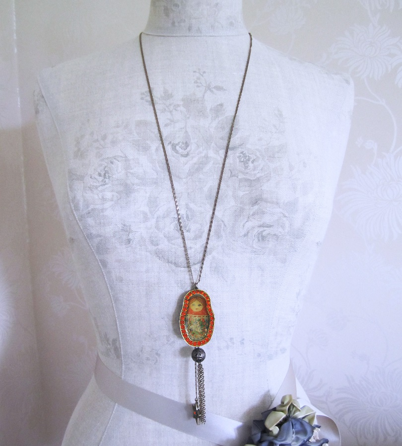 PILGRIM - Large Russian Doll Pendant Long Necklace  - Gold/Red BNWT