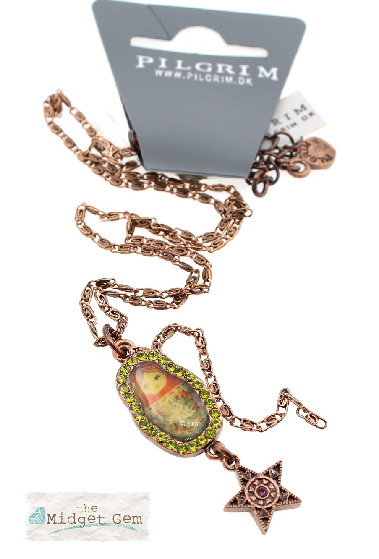 PILGRIM - Single Small Russian Doll Necklace - Copper/Green BNWT
