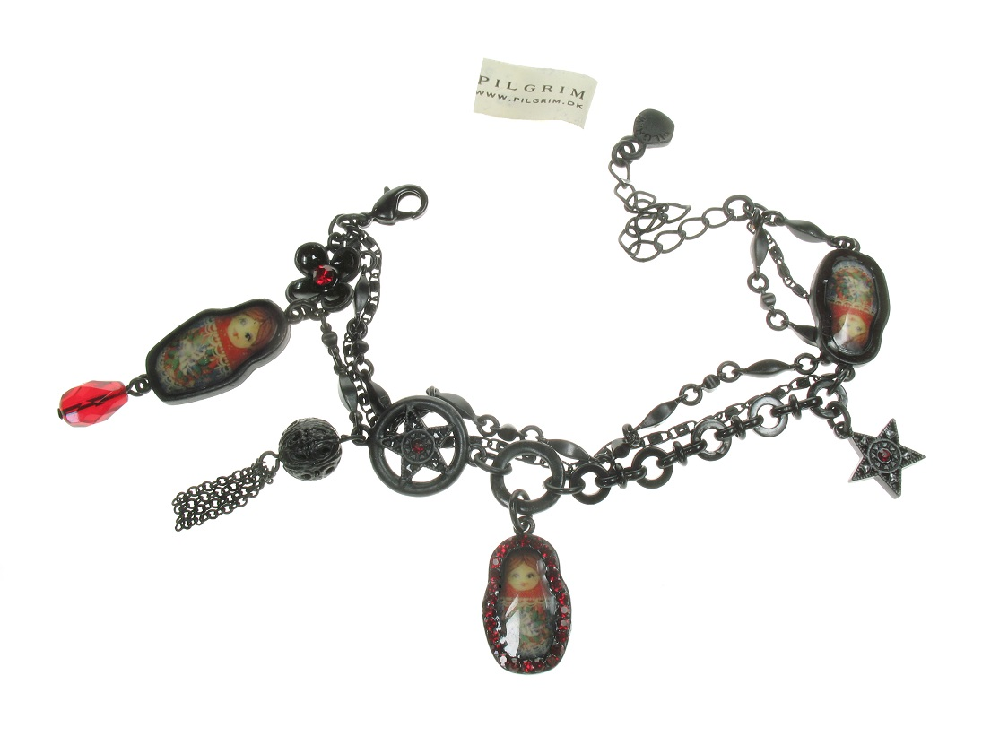 PILGRIM - Babushka Russian Doll Bracelet - Black/Red BNWT