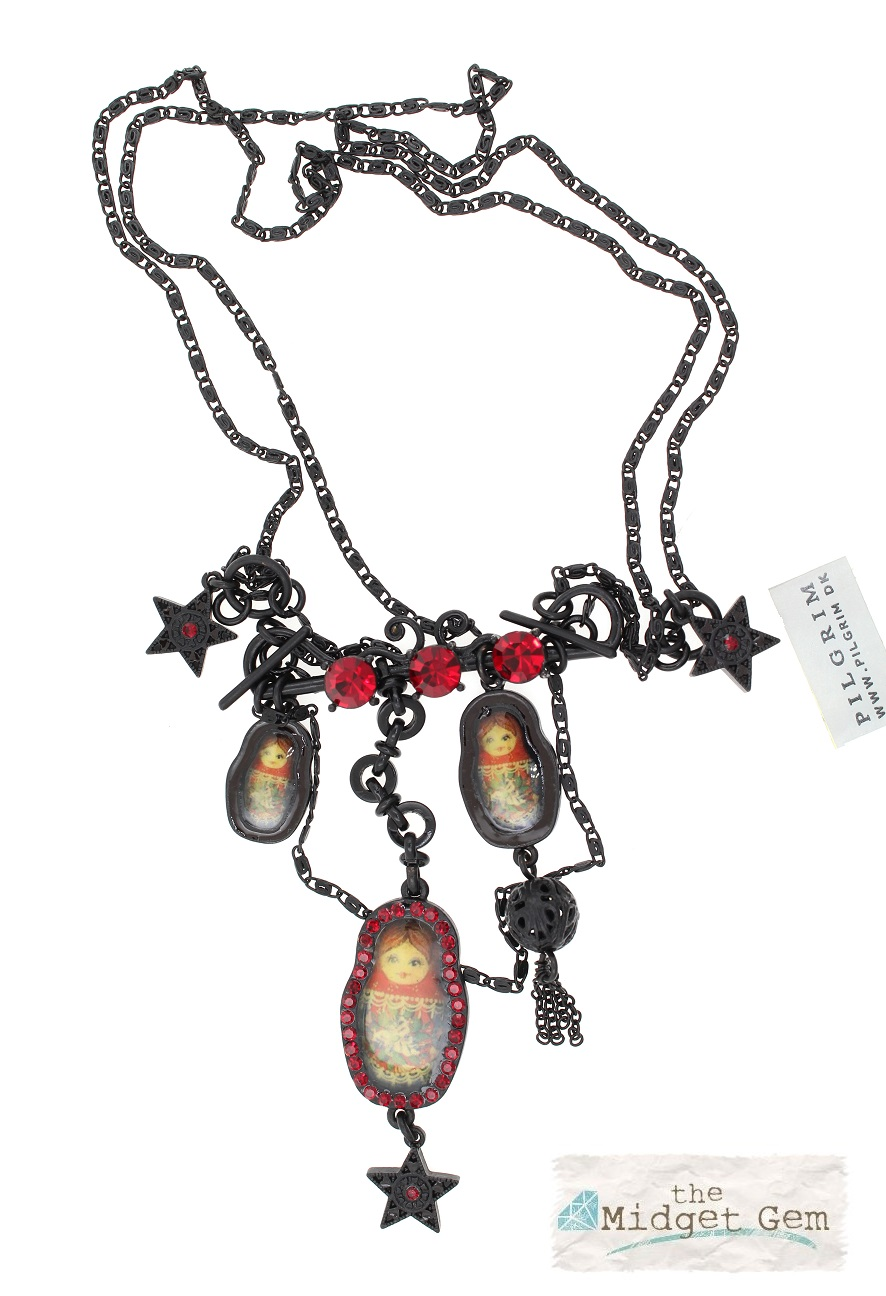 PILGRIM - Russian Doll Necklace - 2 Lengths - Black/Red BNWT
