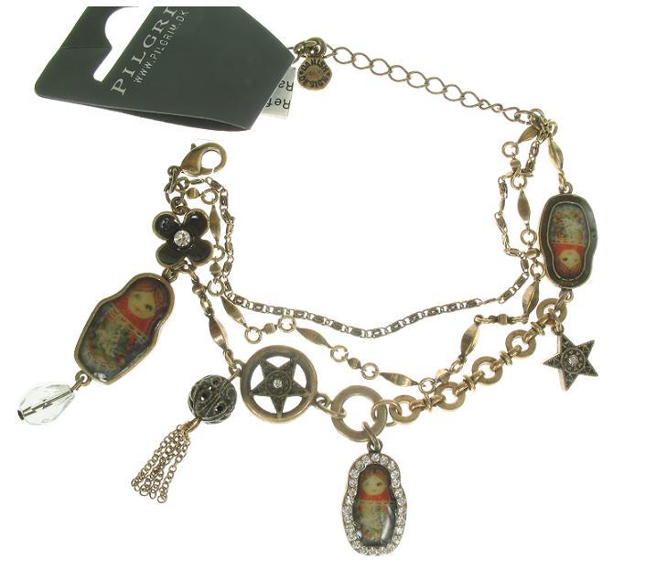PILGRIM - Babushka Russian Doll Bracelet - Oxidised Gold/Clear BNWT
