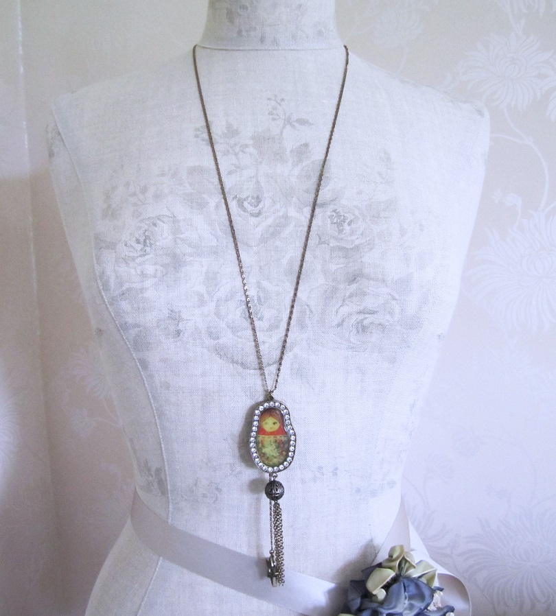PILGRIM - Large Russian Doll Pendant Long Necklace - Gold/Clear BNWT