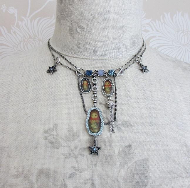 PILGRIM - Russian Doll Necklace - 2 Lengths - Silver/Blue BNWT