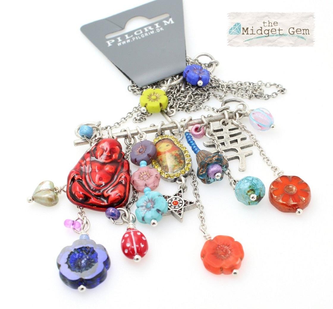 PILGRIM - Russian Doll Necklace - 2 Lengths - Silver/Multi-Colour BNWT