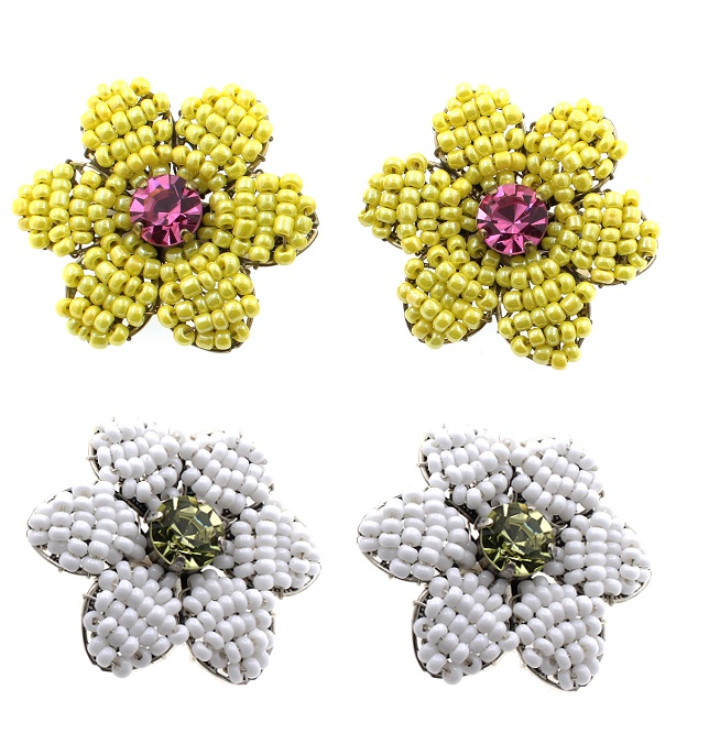 Bohm - Botanical Garden - Clip-on Woven Flower Earrings BNWT