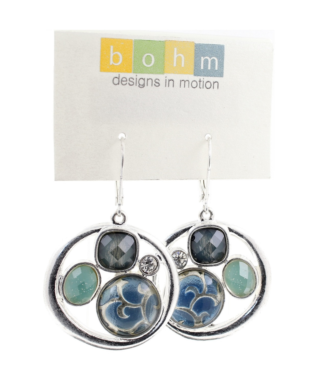 Bohm - City Chic - Disc Panel Earrings - Silver/Blue
