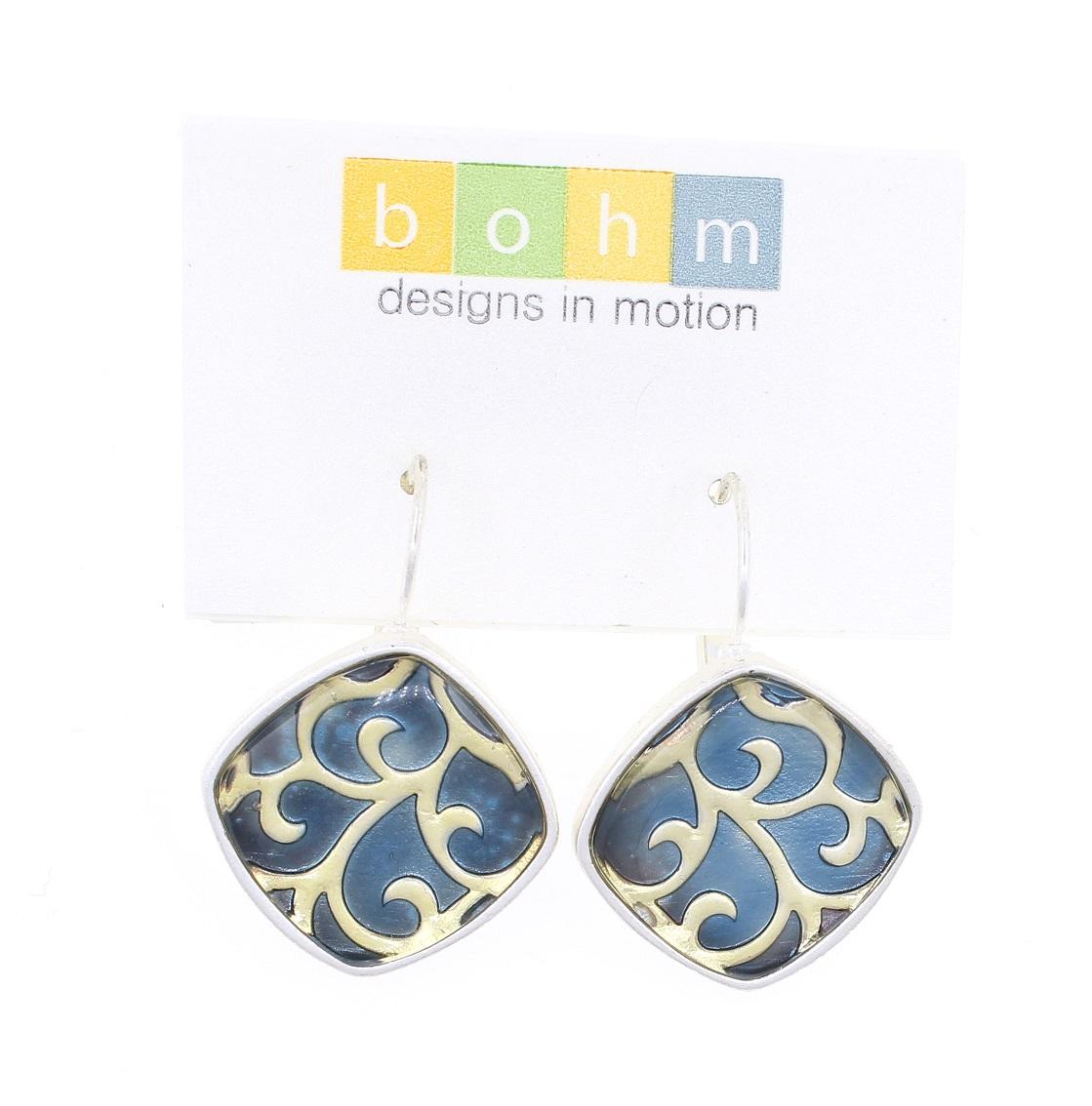 Bohm - City Chic - Square Panel Earrings - Silver/Blue BNWT