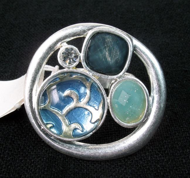 Bohm - City Chic - Adjustable Round Focal Ring - Silver/Blue BNWT