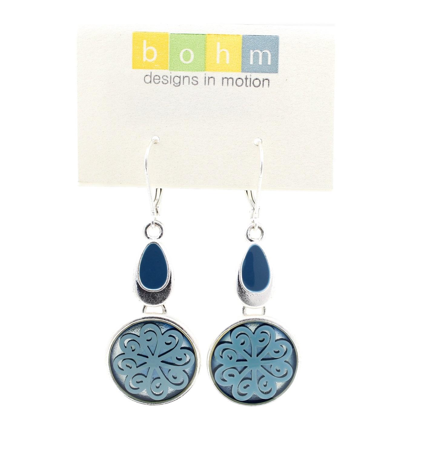 Bohm - City Chic -Scrolling Suspended Flower Earrings - Silver/Blue