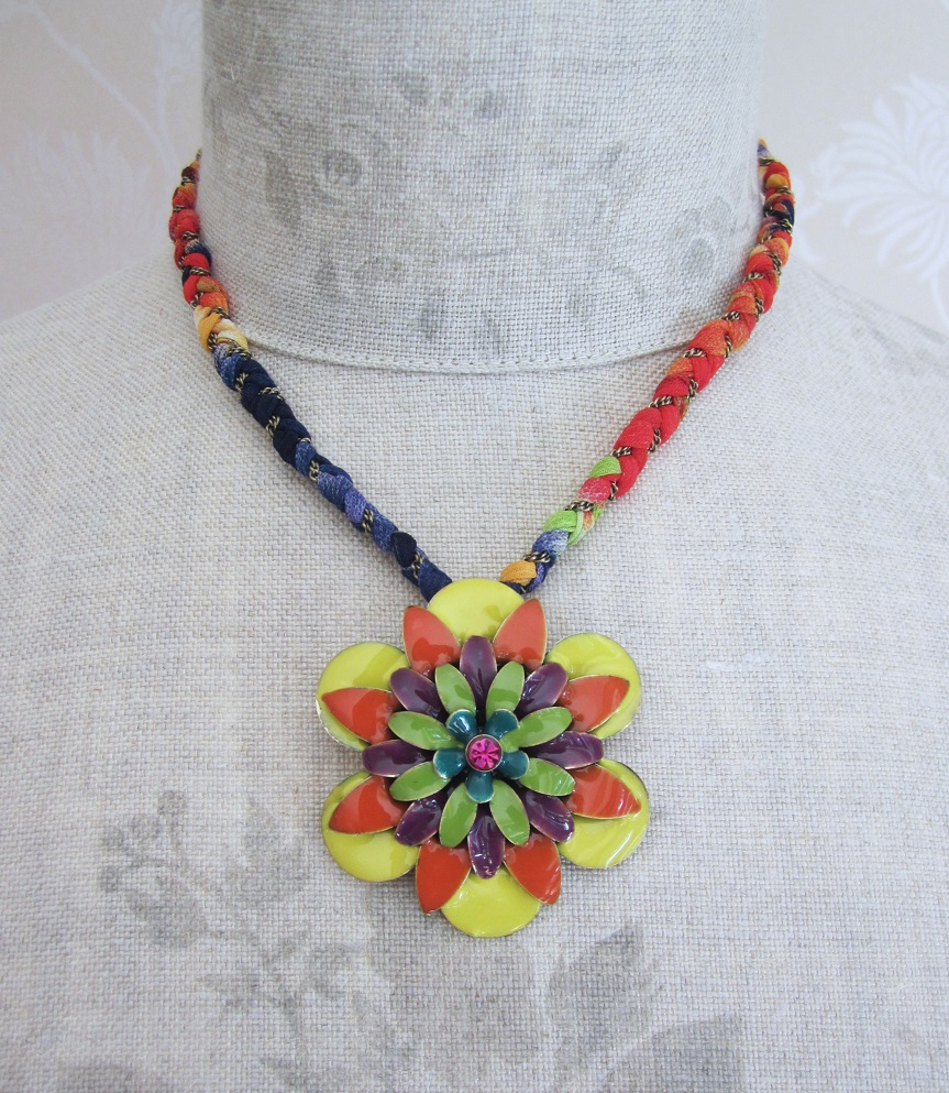 BOHM - California Dreamin' - Flower Pendant & Fabric Necklace - Green, Purple & Gold BNWT