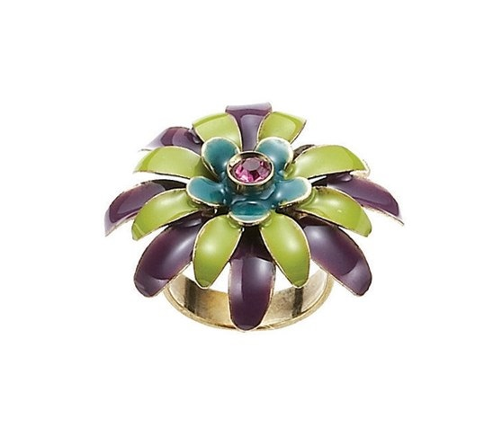 BOHM - California Dreamin' - Adjustable Floral Ring - Lime/Purple/Gold BNWT