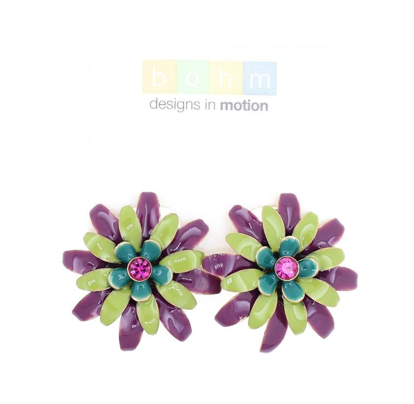 BOHM - California Dreamin' - Clip-On Earrings - Purple, Green & Gold BNWT