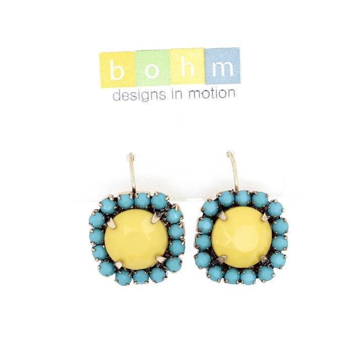 BOHM - California Dreamin' - Claw-Jewel Earrings - Yellow, Turquoise & Gold BNWT