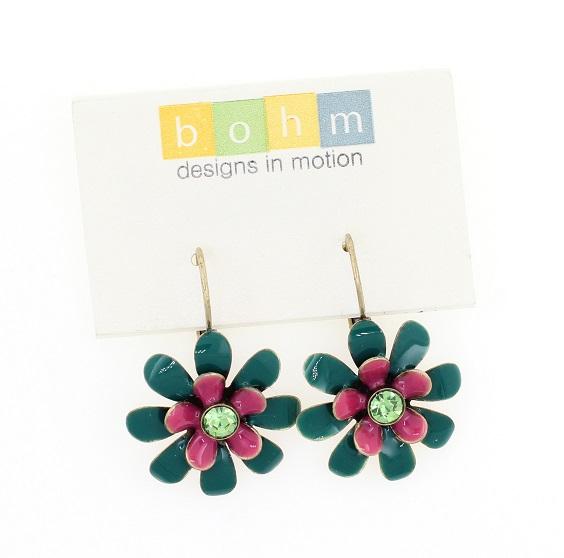 BOHM - California Dreamin' - Flower Drop Earrings - Teal Green/Pink/Gold BNWT