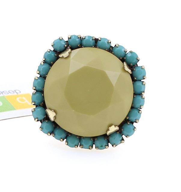 BOHM - California Dreamin' - Adjustable Faux Crystal Ring - Khaki, Turquoise & Gold BNWT
