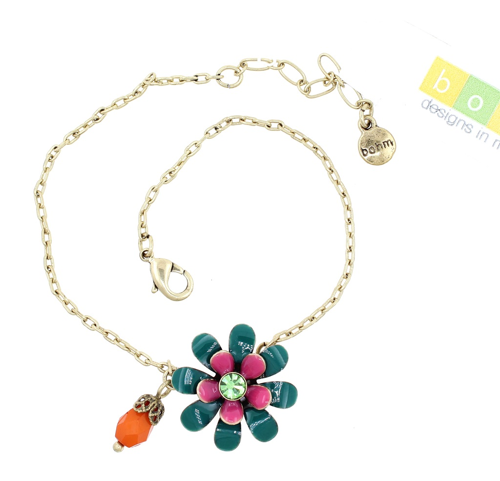 BOHM - California Dreamin' - Ankle Chain/Anklet - Teal Green, Pink & Gold BNWT