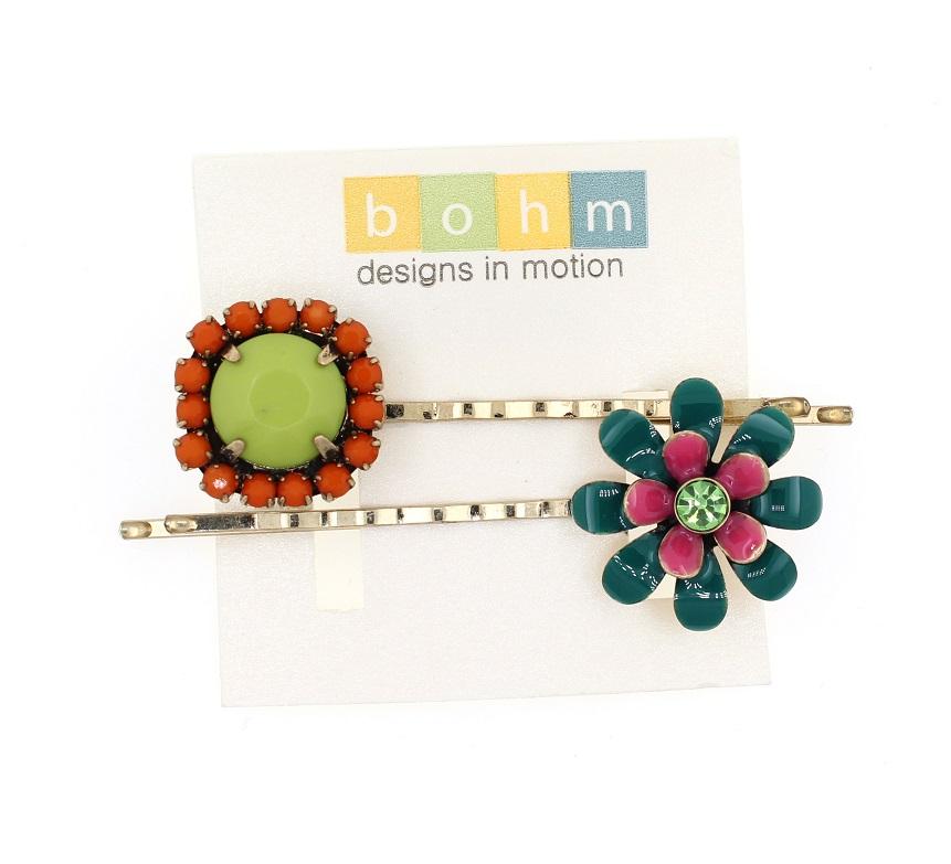 BOHM - California Dreamin' - Pair of Hair Clips/Pins - Lime Green & Orange/Gold BNWT