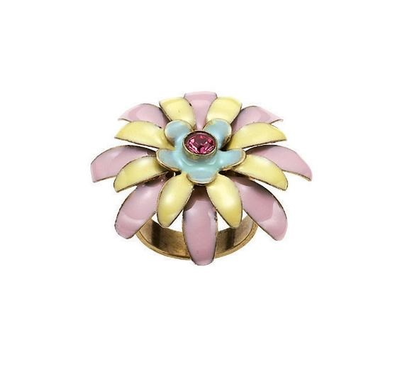 BOHM - California Dreamin' - Adjustable Floral Ring - Pastels/Gold BNWT