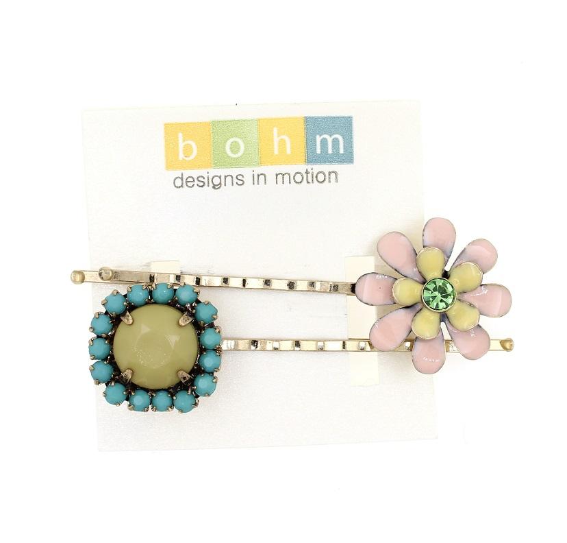BOHM - California Dreamin' - Pair of Hair Clips/Pins - Pastel Pink & Khaki/Gold BNWT