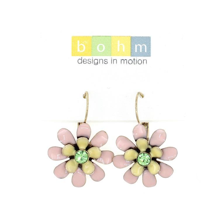 BOHM - California Dreamin' - Flower Drop Earrings - Pastel Pink, Yellow & Green/Gold BNWT