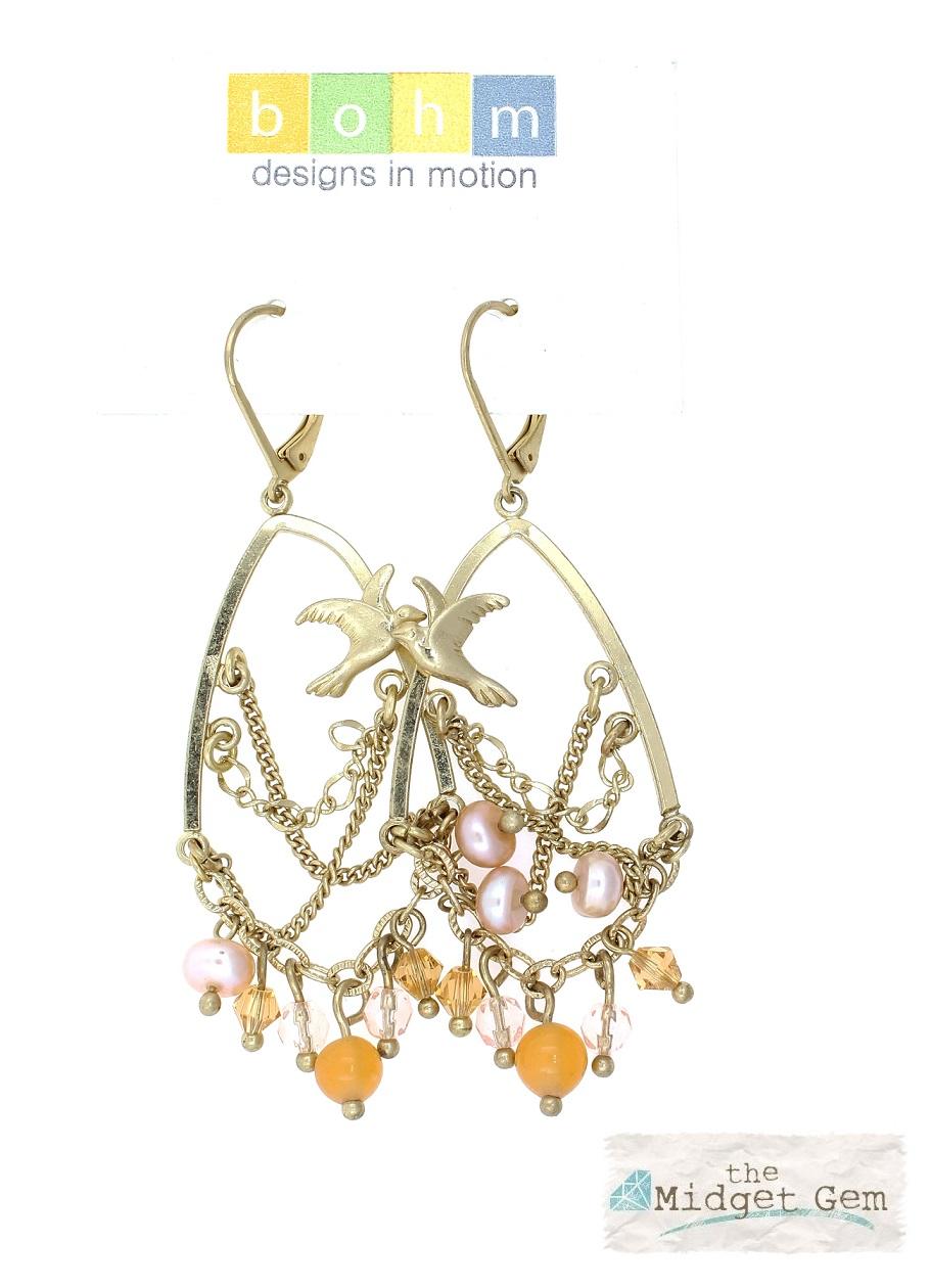 BOHM - Love Birds - Chandelier Earrings - Gold Plate/Peach - BNWT
