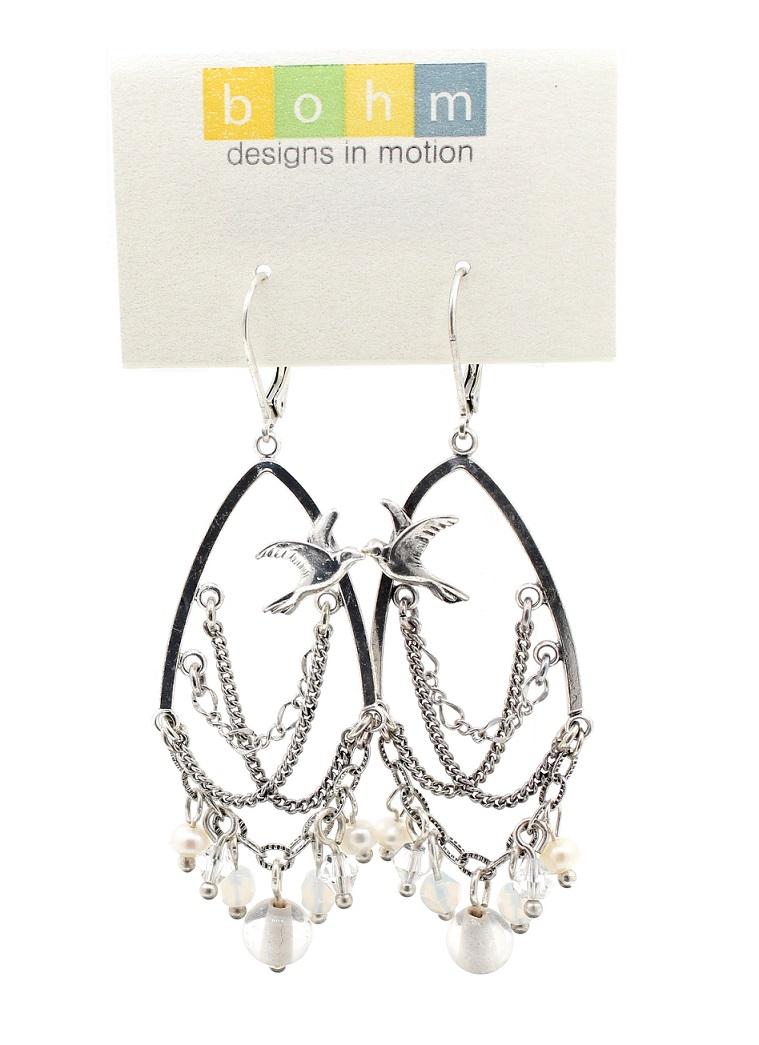 BOHM - Swallow Bird Chandelier Earrings - Silver Plate/White BNWT