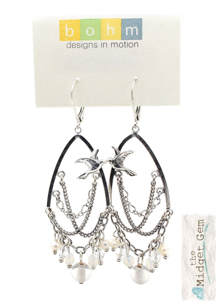 BOHM - Swallow Bird Chandelier Earrings - Silver Plate/White BNWT