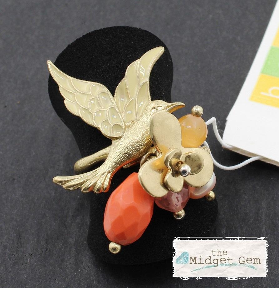 BOHM - Love Birds - Adjustable Ring - Gold Plate/Peach BNWT