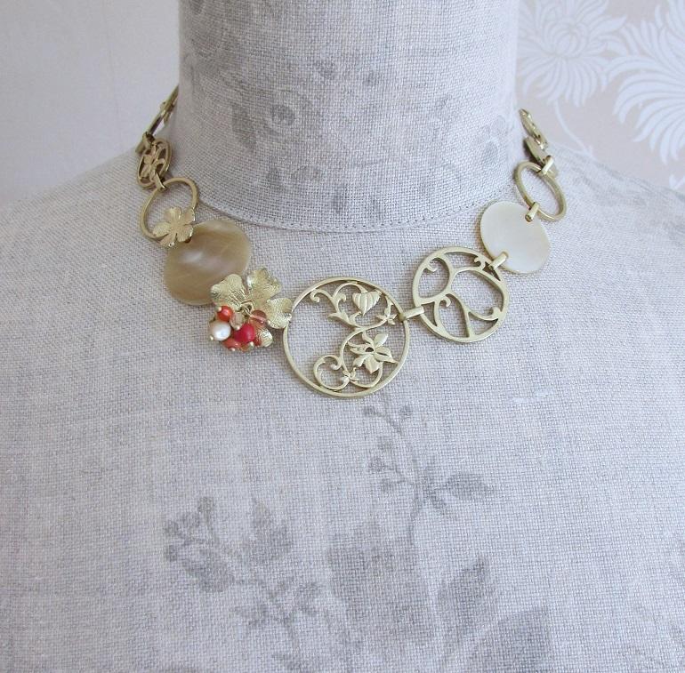 BOHM - Heirloom - All-round Necklace - Gold/Orange/Cream BNWT