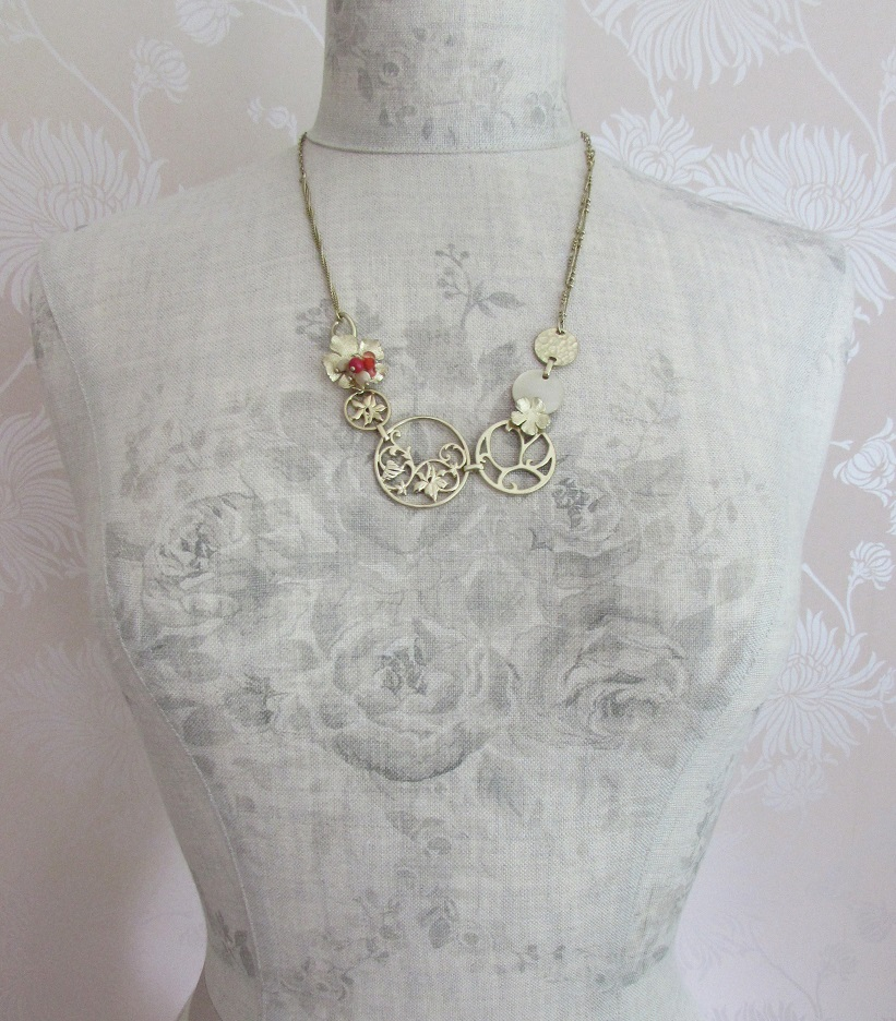 BOHM - Heirloom - Longer Length Necklace - Gold/Orange/Cream BNWT