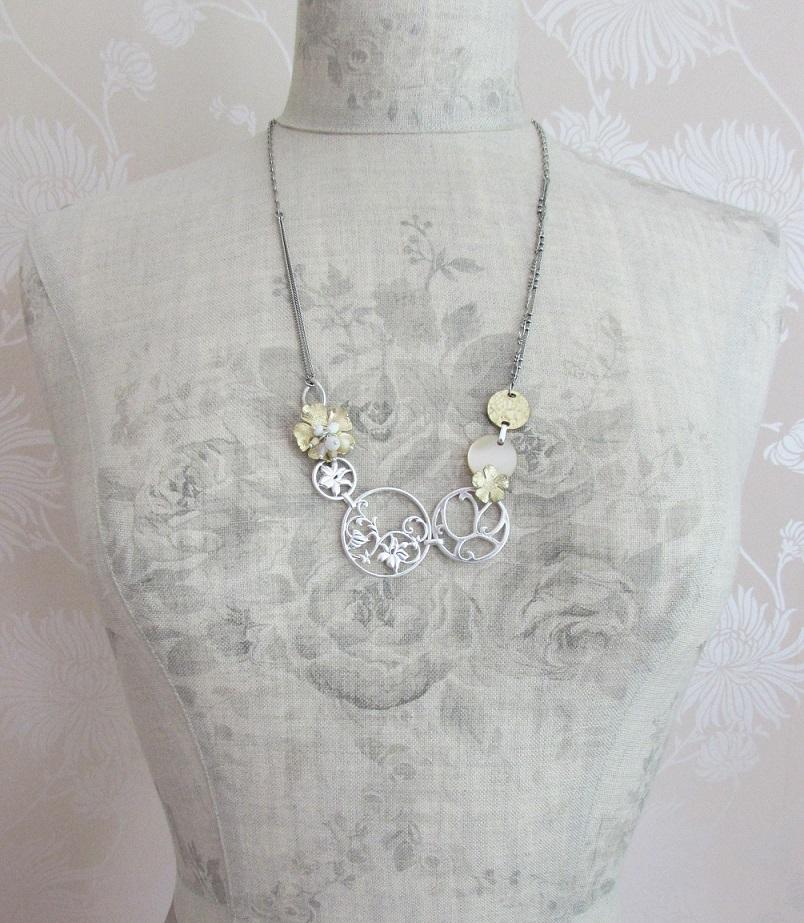 BOHM - Heirloom - Longer Length Necklace - Silver/Gold/White BNWT