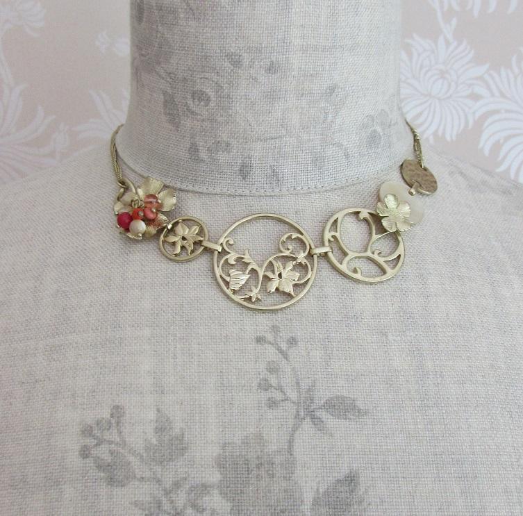 BOHM - Heirloom - Shorter Length Necklace -Gold/Orange/Cream BNWT
