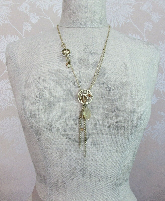 BOHM Long Necklace 9ct Gold & Beige Cream Glass Beads Swarovski Quartz Drop BNWT