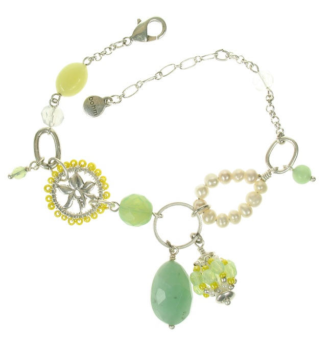 Bohm Floral Folklore Adjustable Bracelet - Silver Plate/Green