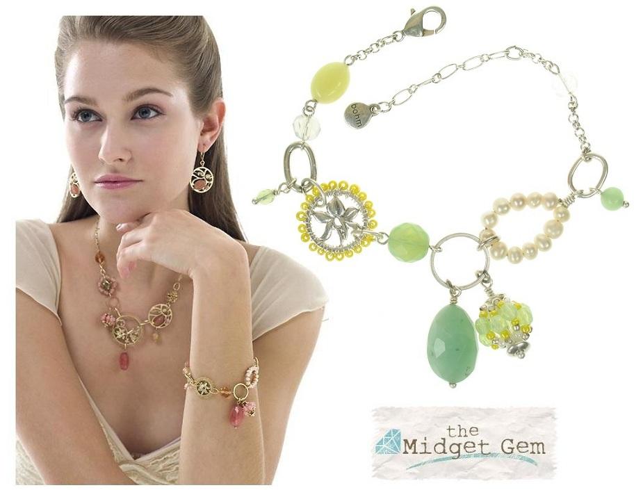 Bohm Floral Folklore - Adjustable Bracelet - Silver Plate/Green BNWT