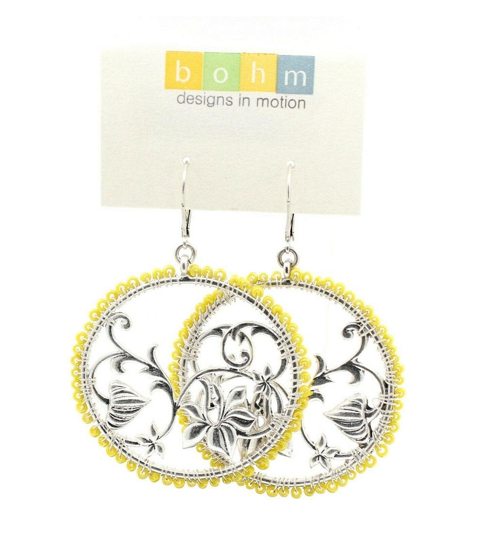 Disc & Bead Earrings - Silver Plate/Yellow Glass Beads - BOHM BNWT