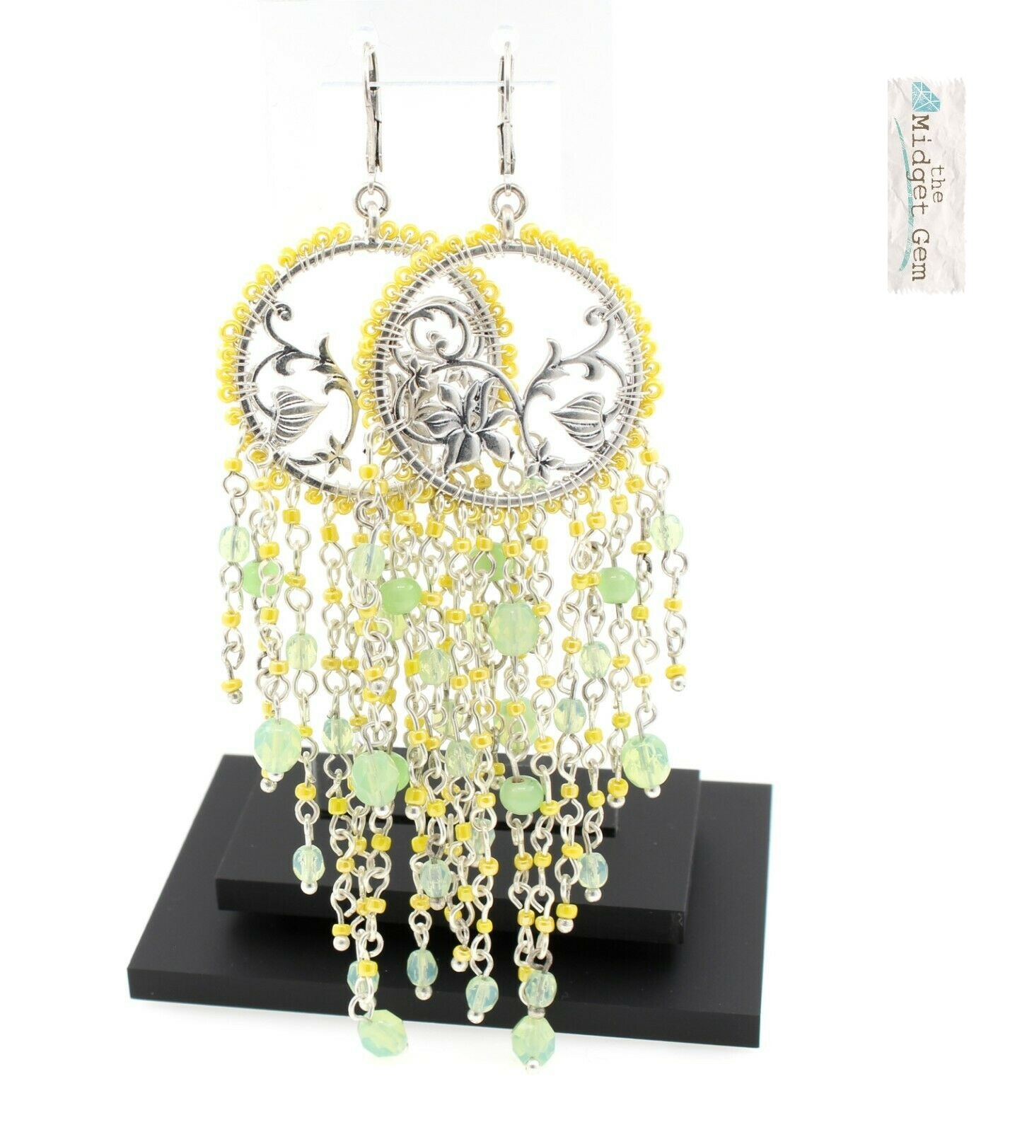 Bohm Floral Folklore - Floral Silhouette & Glass Beaded Cascade Earrings - Silver Plate/Green BNWT