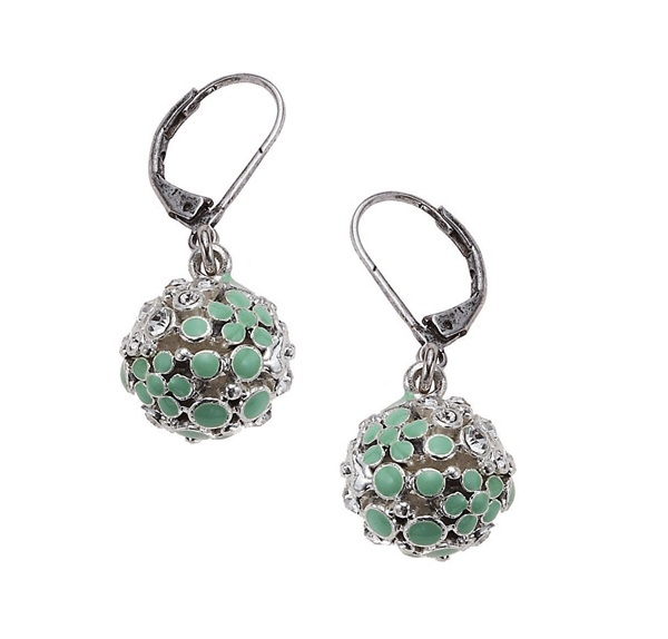 Bohm Floral Folklore Sphere Earrings - Silver Plate/Green