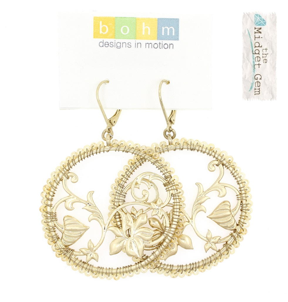 Disc & Bead Earrings - Gold Plate/Beige Glass Beads - BOHM BNWT