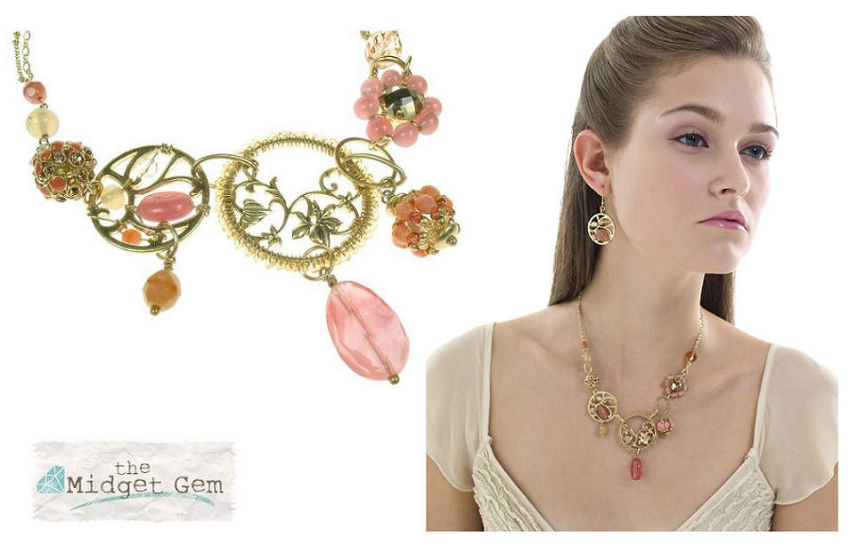 Bohm Floral Folklore - Necklace - Gold Plate/Peach & Pink BNWT