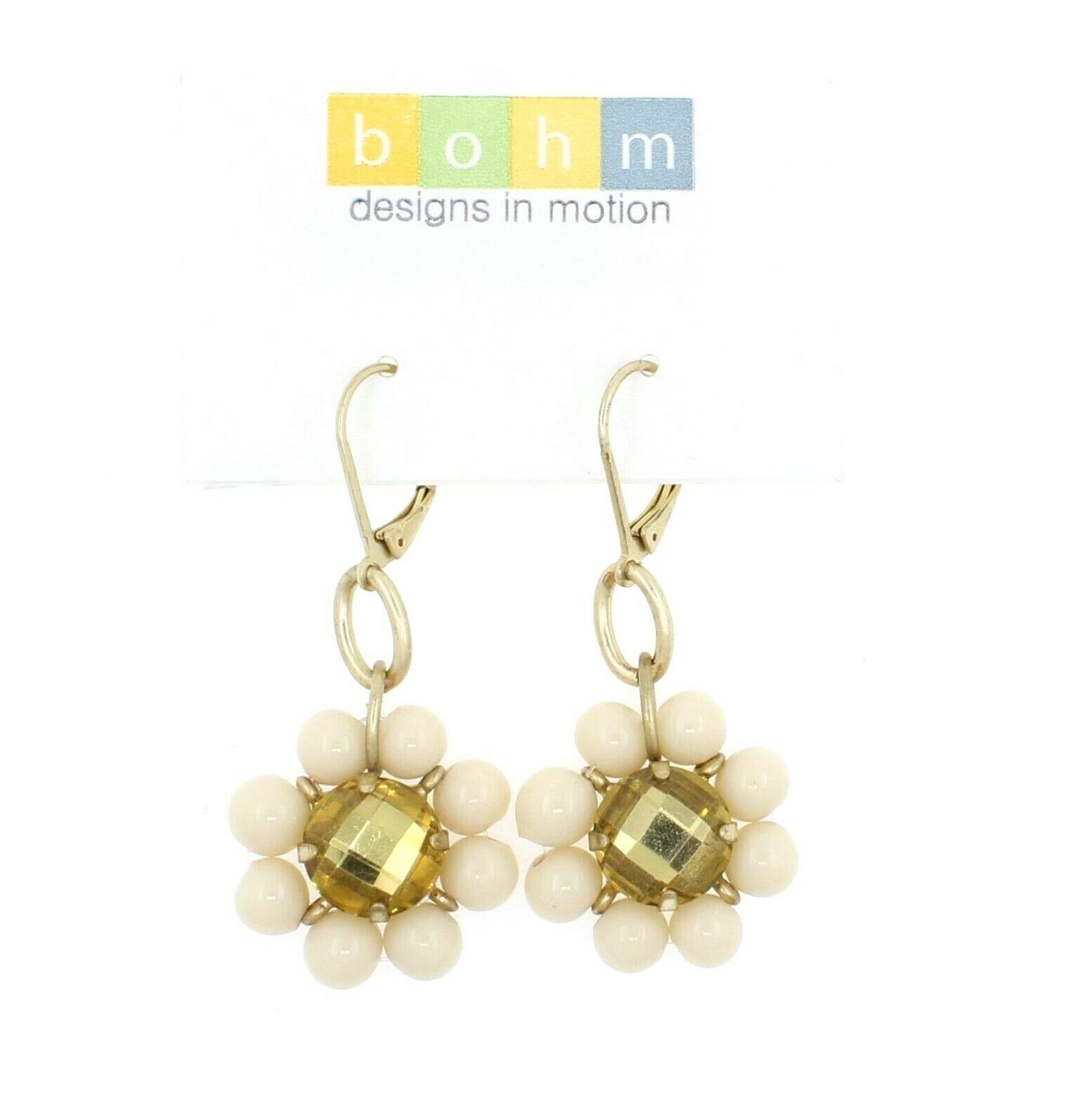 Bohm Floral Folklore - Glass Flower Earrings - Gold Plate/Cream BNWT