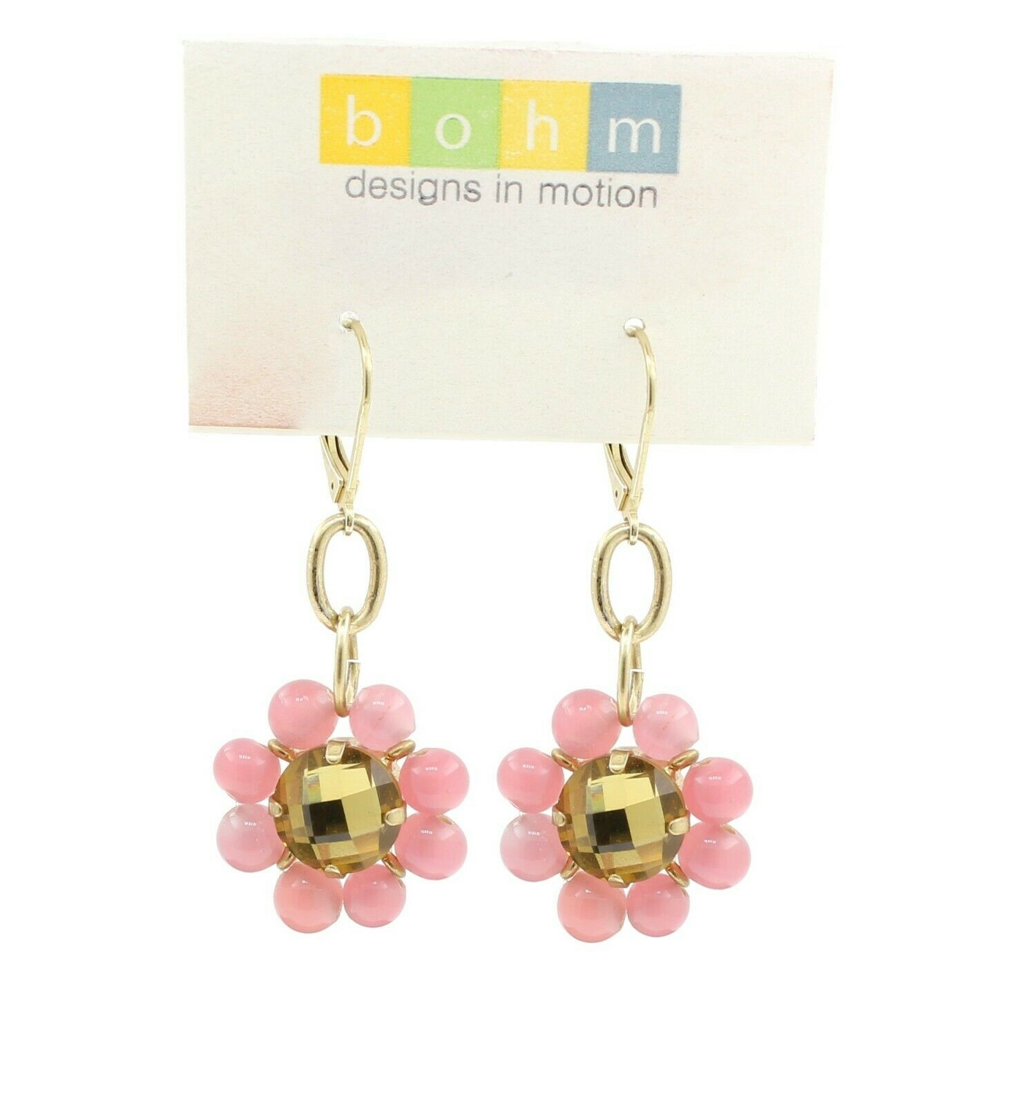 Bohm Floral Folklore - Glass Flower Earrings - Gold Plate/Pink BNWT
