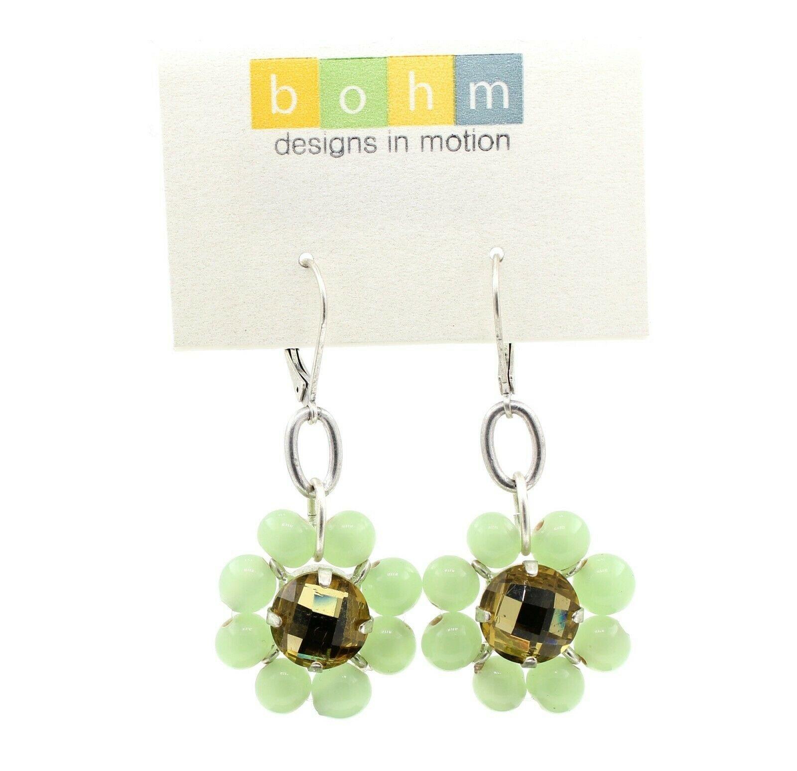 Bohm Floral Folklore - Glass Flower Earrings - Silver Plate/Green BNWT