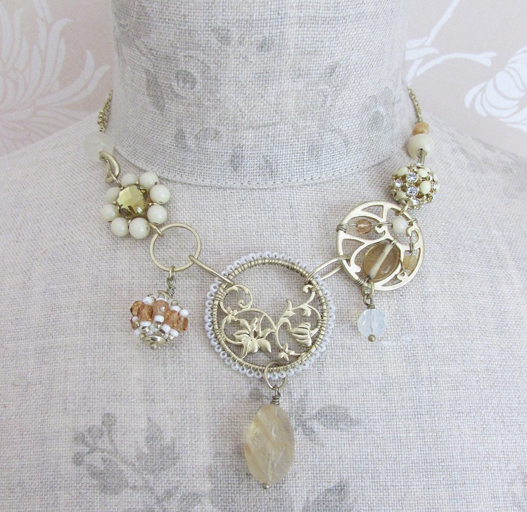 Bohm Floral Folklore - Necklace - Gold Plate/Cream & Beige BNWT