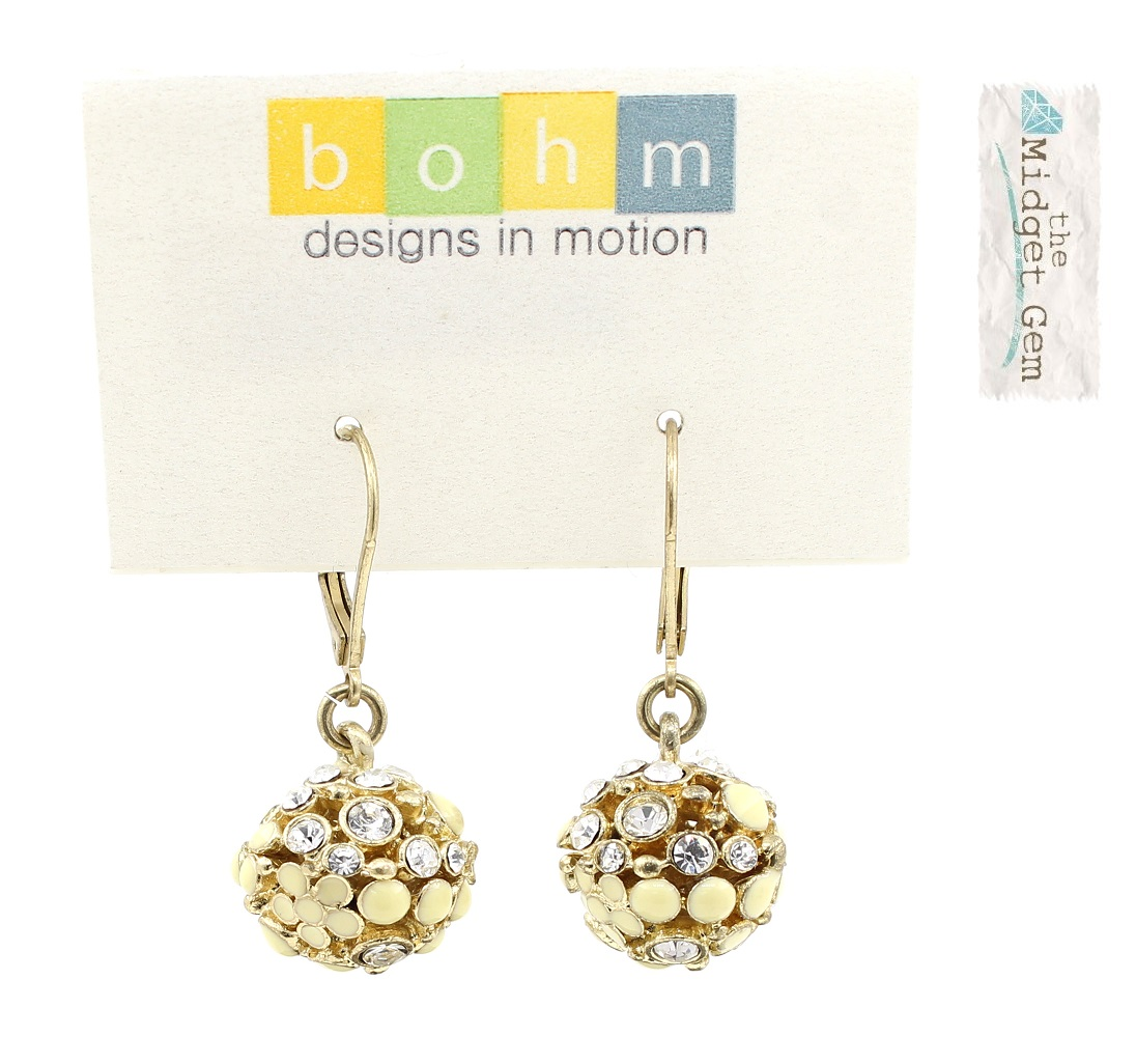 Bohm Floral Folklore - Crystal-Ball Earrings - Gold Plate/Cream/Clear BNWT