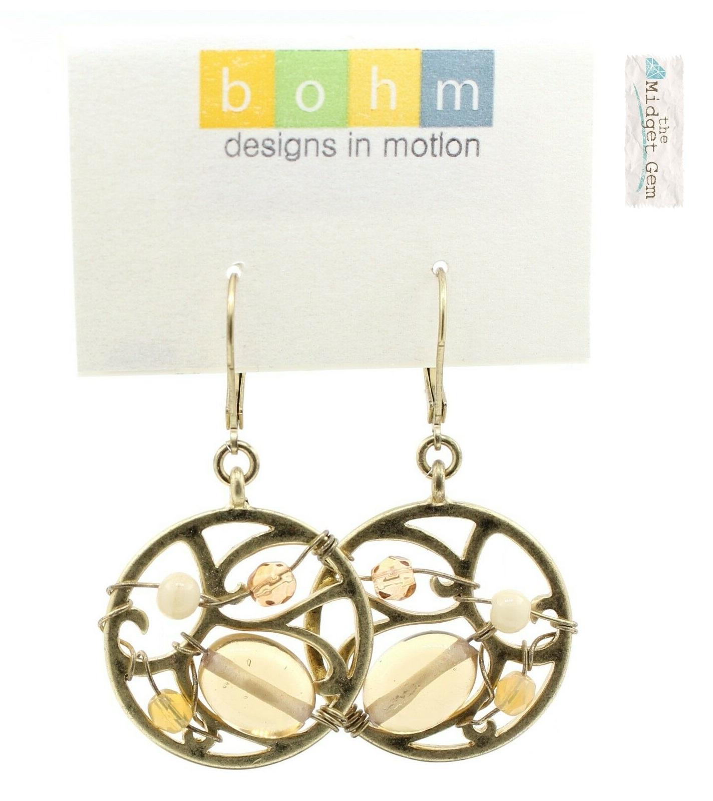 Bohm Floral Folklore - Silhouette & Glass Beaded Earrings - Gold Plate/Beige & Cream BNWT
