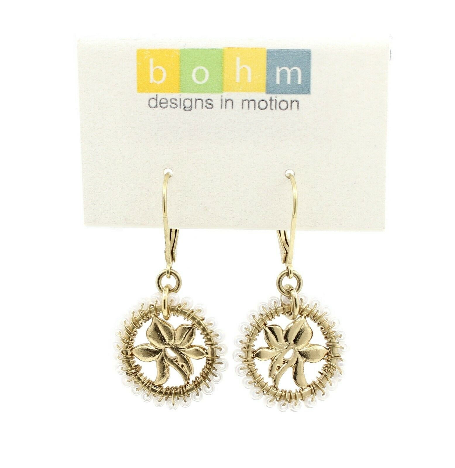 Bohm Floral Folklore - Orchid Silhouette Earrings - Gold Plate/Cream Beads BNWT