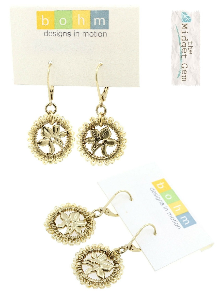 Bohm Floral Folklore - Orchid Silhouette Earrings - Gold Plate/Beige Beads BNWT