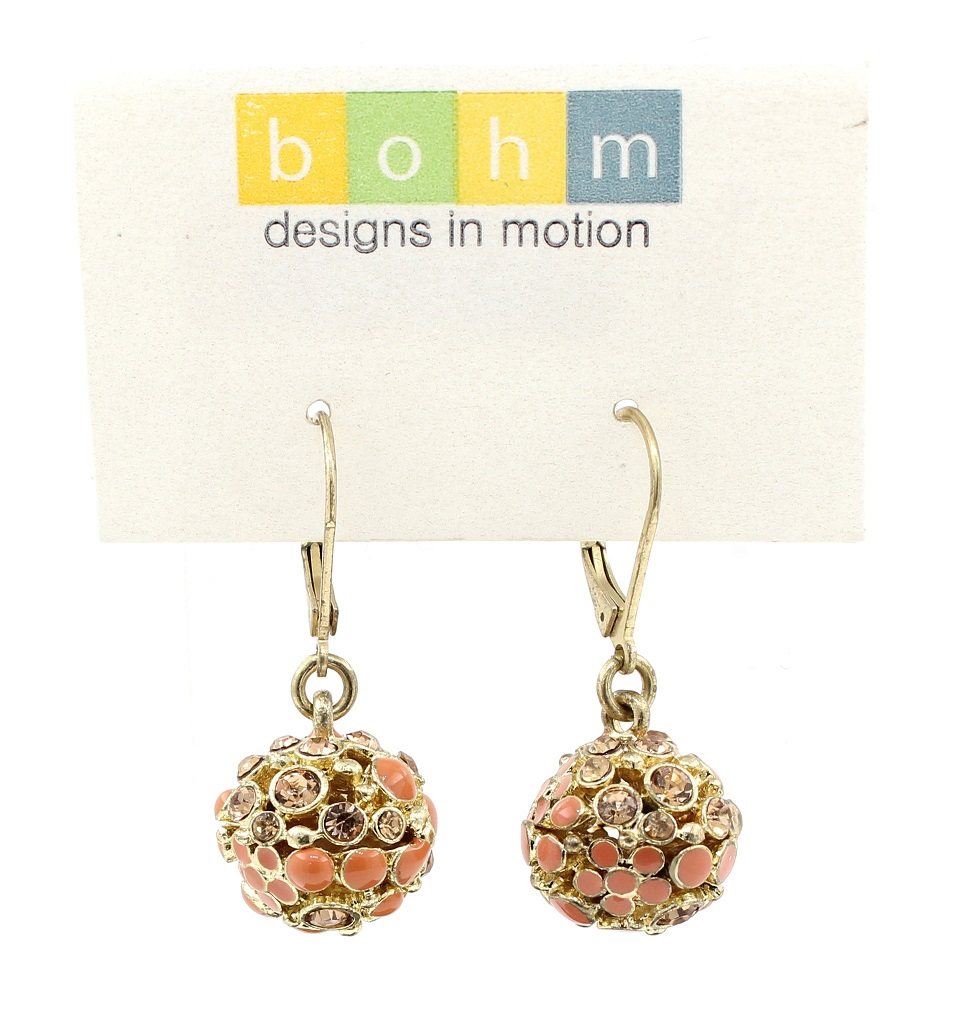 Bohm Floral Folklore - Crystal Ball Earrings - Gold Plate/Peach BNWT