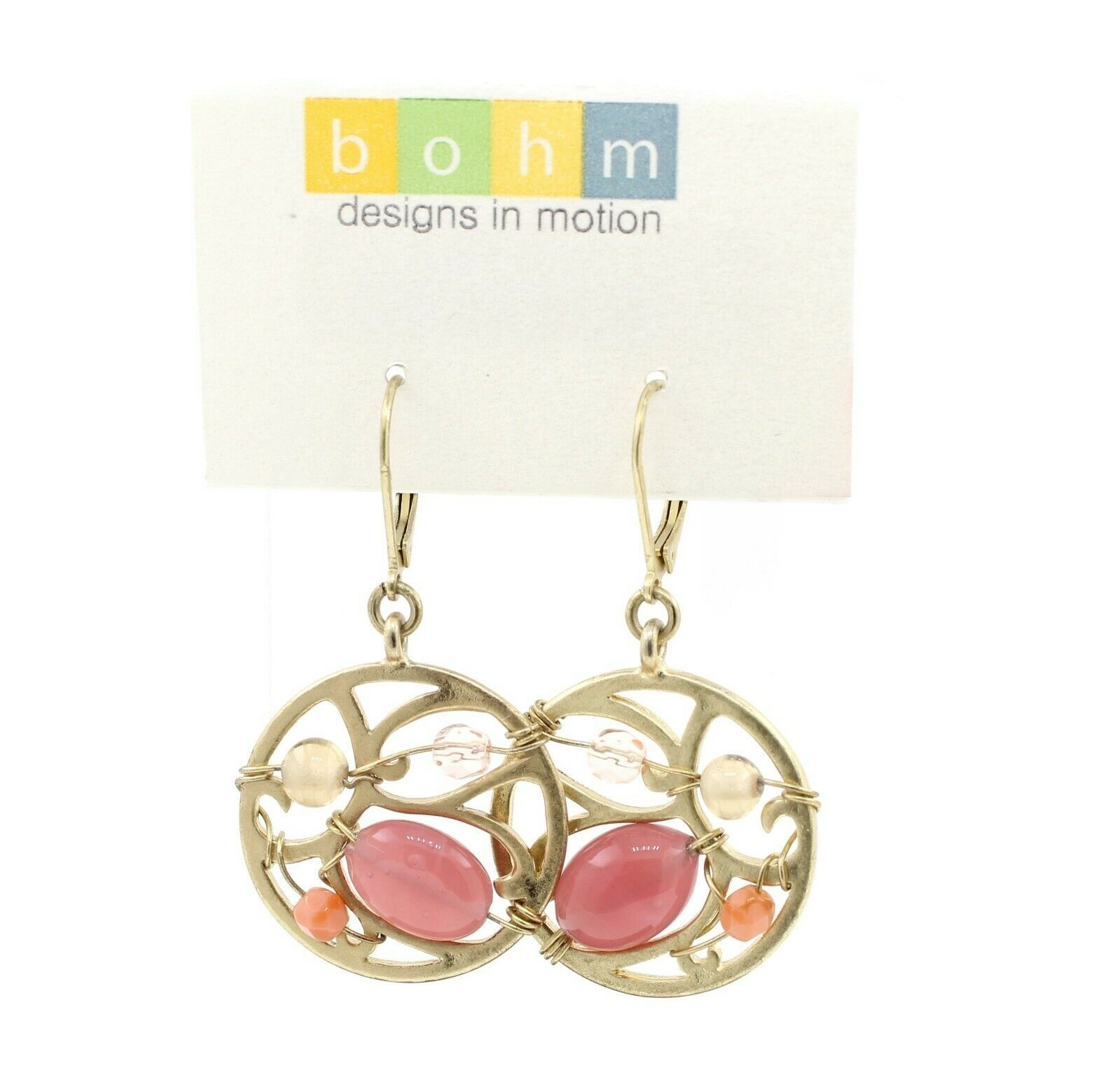 Bohm Floral Folklore - Silhouette & Glass Beaded Earrings - Gold Plate/Pink BNWT